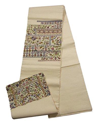 チェリーバレル千リサイクル 袋帯 相良刺繍 花の装飾文様 正絹 お太鼓柄