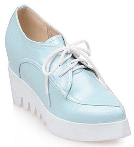 Idifu Mujeres Sweet Lace Up Puntiagudo Plataforma Cuña Oxfords Zapatillas Con Tacones Dentro Azul