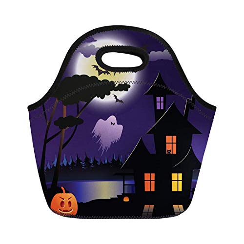 (Deeoor Neoprene Lunch Tote Bag Blue Autumn Halloween Night Orange Bat Carving Celebration Cemetery Reusable Cooler Bags Insulated Thermal Picnic Handbag for Travel,School,Outdoors,)