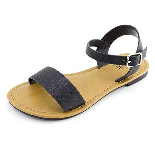 Price comparison product image Kali Single Band Ankle Strap Flat Sandals (Black, 3)