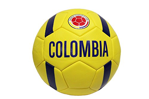 COLOMBIA Yellow Blue Stripes, Federacion Colombiana De Futbol Logo, FIFA World Cup Soccer Ball Size 5. New
