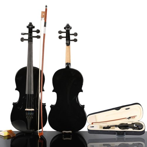 1/2 black School Basswood Acoustic Violin Fiddle + Case + Bow + Rosin Xmas by Lykos