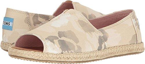 Toms Alpargata Open Toe (Natural Watercolor Floral) Women's Flat Shoes (8)