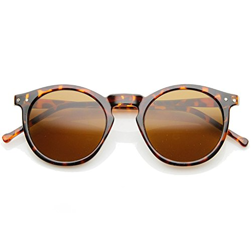 Vintage Inspired Round Horned P-3 Sunglasses with Key Hole Nose (Tortoise, 48) (Tortoise, - Sunglasses Brown Tortoise
