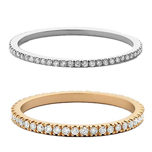 Silver Sterling Pave Setting (NNIOV Eternity Ring, Full Half Twist Eternity Style, 14K Gold Plated 925 Sterling Silver CZ Simulated Diamond Stackable Ring | Matching Bands for Women (Full Eternity - Two Color Set, 5))