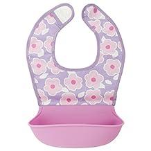 Kushies Baby B305-G02 Baby Xilisoft Bib with Silicone Pocket, Blossom