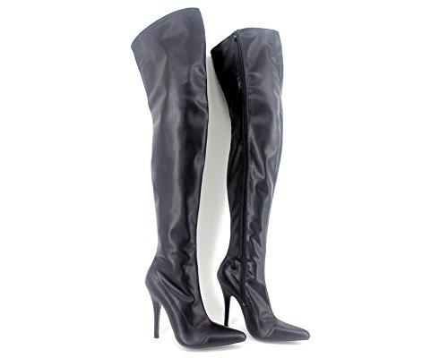 """Wonderheel 5"""" stiletto sexy bottes cuir matt noir cuissarde crotch boots femme"""