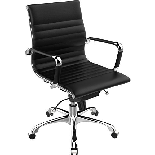 century office. Poly And Bark Ribbed Mid Back Office Chair In Vegan Leather, Black Century