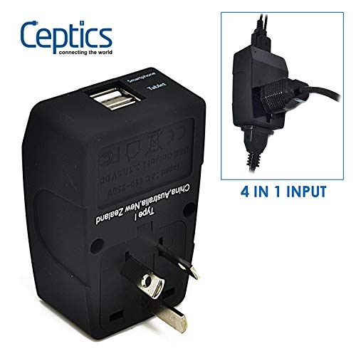 Ceptics GP4-16 2 USB Australia Travel Adapter 4 in 1 Power Plug (Type I) - Universal Socket