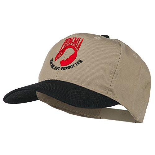 E4hats Pow Mia Logo Embroidered Two Tone Cap - Black Khaki OSFM -