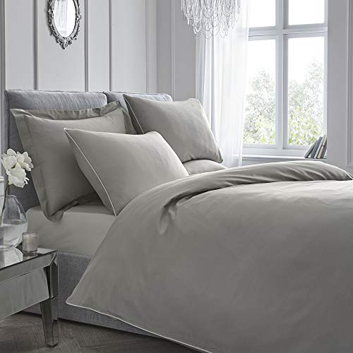 Appletree Unifarbenes Bettbezug-Set, Fadenzahl 200, Paspelierung, Baumwolle, Schiefer, King Size