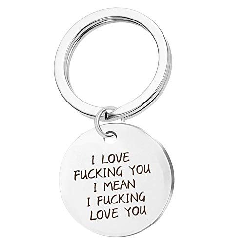 Harsgs Keychain Gift , I Love Fucking You I Mean I Fucking Love You, Funny Lover Couple Keyring, Round Keychain for Girlfriend Wife Boyfriend Husband