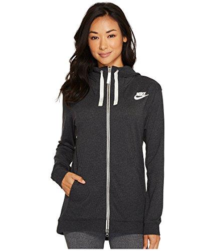 Nike Womens Gym Classic Full Zip Hoodie Black Heather/Sail 854961-032 Size Large
