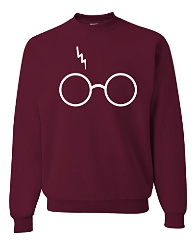 Wizard Glasses Scar Unisex Crewneck Sweatshirt ( Maroon , Medium )