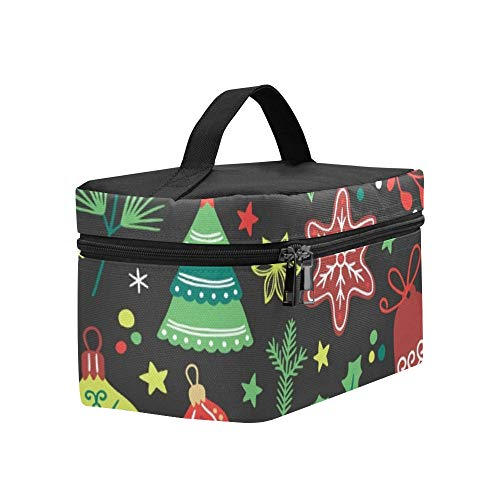 Christmas Fir Tree Poinsettia Lunch Box Tote Bag Lunch Holder Insulated Lunch Cooler Bag For Women/men/picnic/boating/beach/fishing/school/work ()
