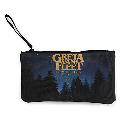 Greta Van Fleet from The Fires Women and Girl Classic Coin Purse Zipper Pouch Wallet Canvas Clutch Wristlet Cellphone Bag with Handle for