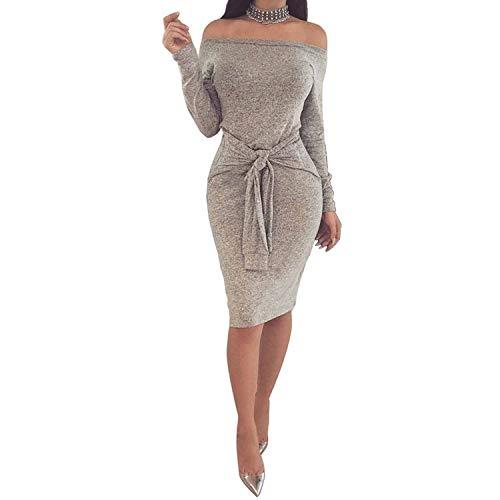 2004 Prom Dress - 2018 Womens Elegant Long Sleeve Autumn Winter Pencil Dress Women Sexy Off Shoulder Slash Neck Bodycon Bandage Dresses,Gray,L