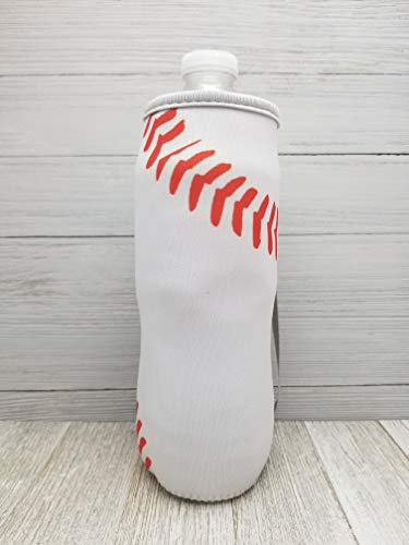 - Baseball Neoprene Water Bottle Holder With Strap. Reusable, Insulated, Soft Sided, Collapsible Sleeve. Washable.