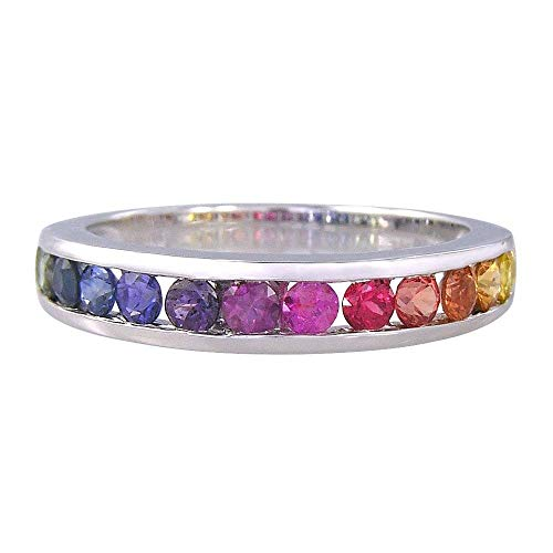 EQUALLI Rainbow Sapphire Half Eternity Band Ring .925 Sterling Silver (Size: 5) ()
