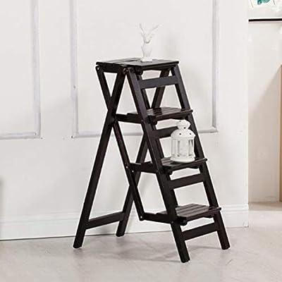 SSPKTY Plegable Taburete de Paso 100% sólidos de Madera escaleras de Tijera Simple Plataforma for la Cocina casera Biblioteca Loft -J09P (Color : Black): Amazon.es: Hogar