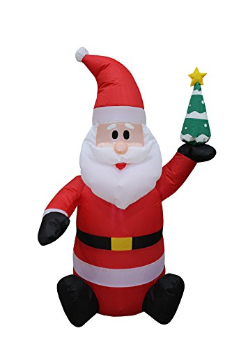 (4 Foot Tall Lighted Christmas Inflatable Santa Claus holding Christmas Tree Indoor Outdoor Party Yard Decoration)