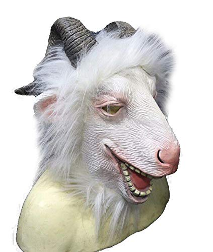White Goat Mask Latex Animal Full Head Mask Costume Farmyard Antelope Masks Halloween Cosplay for Party