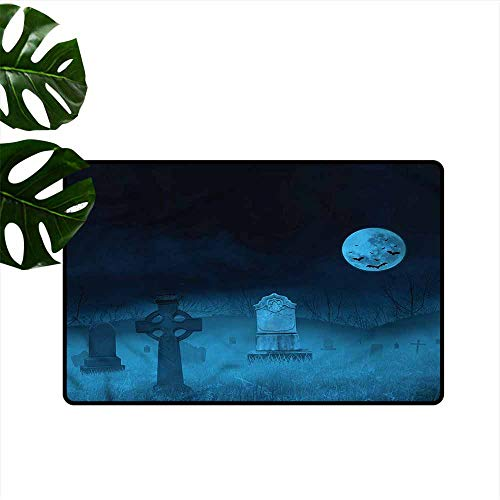 HOMEDD Crystal Velvet Doormat,Gothic Ghostly Graveyard Halloween,Easy Clean Rugs,24