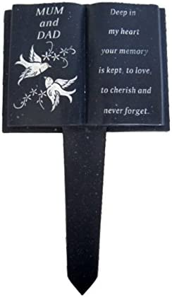 Mum /& Dad Slate Grey Memorial Book Stake Dove Detail Grave Plaque Spike Marker Tribute