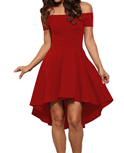 Tiksawon Women Sexy Plus Size Slash Neck Evening Party Skater Dress L Red