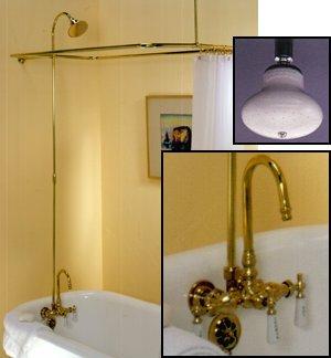 Leg Tub Shower Enclosure Set w/ Porcelain Lever Handles and Gooseneck Faucet - Oil Rubbed Bronze - 45 x 25 Leg Tub Shower Enclosure