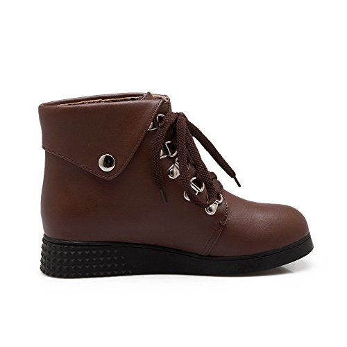 Boots Closed Allhqfashion Low Women's Toe Material Low Heels Lace Soft up Round Brown top aCaqwY7