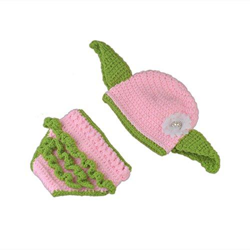 HOBULL Newborn Photography Prop Crochet Knit Star Wars Infant Baby Yoda Hat Pink Goblin Hat with Ears]()