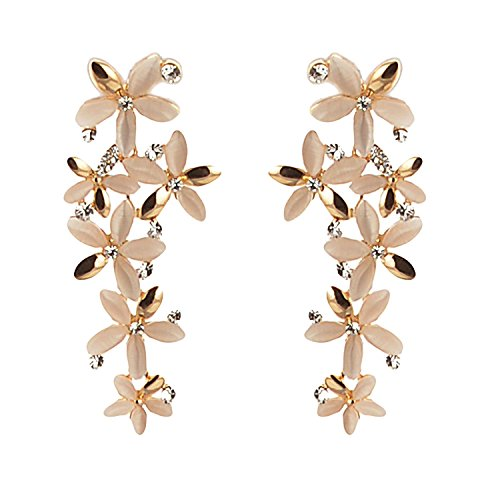 Youbella Golden-White Gold Plated Dangle & Drop Earrings For