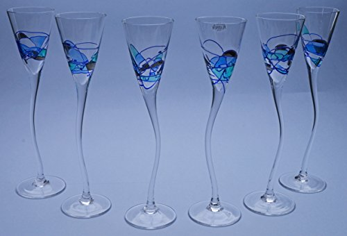 SHERRY GLASS GOBLET ROYAL AQUAMARINA, SET OF 6 IN GIFT BOX unique glass goblet of artisanal production, manufactured with blown glass technique and handpainted. 24,02'' x 10,63'' x 3,15'' by ART ESCUDELLERS