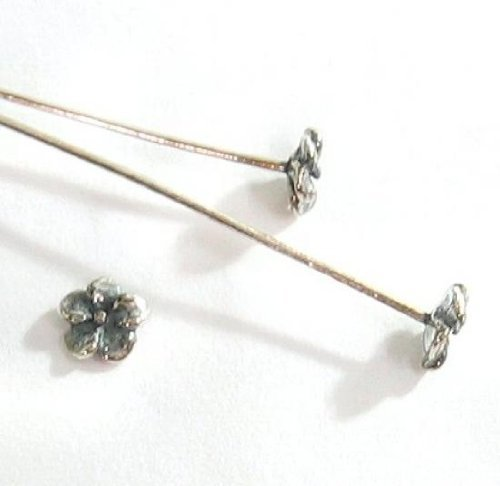 (10 pcs .925 Sterling Silver Head Pins Bali Daisy Flower Dot Headpins 26ga 26 Gauge 2''/Findings/Antique)