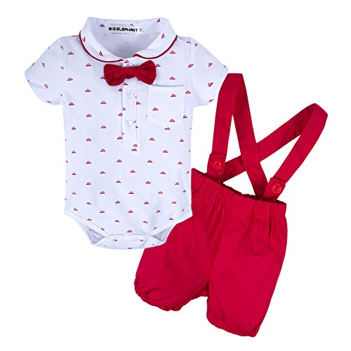 BIG ELEPHANT Baby Boys 2 Pieces Short Sleeve Romper Suspender Shorts Set T49-Red-70 9-12 Months