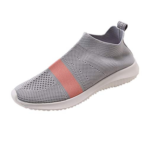 (Women's Slip-on Running Sneakers Fashion Flying Woven Stretch Fabric Ultralight Breathable Casual Sports Shoes)
