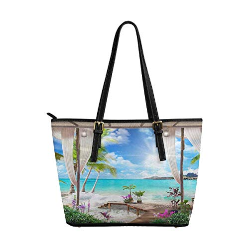 (InterestPrint Women Totes Top Handle HandBags PU Leather Purse Terrace with Access to the Beach with Palm Tree)