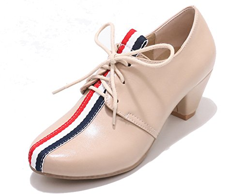 Beige Chaussures Lacets à HiTime Femme IZxd0Iw