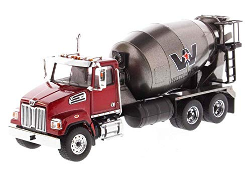 (Diecast Masters Western Star 4700 SF Concrete Mixer Metallic Red with Gray Body 1/50 Diecast Model)