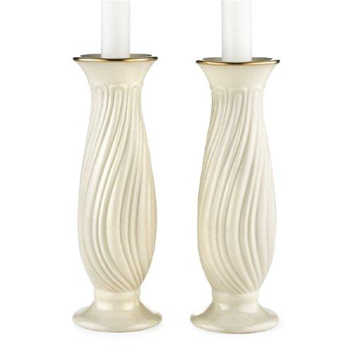 Lenox Housewarming Ivory China Gold Banded Pair of Candlesticks