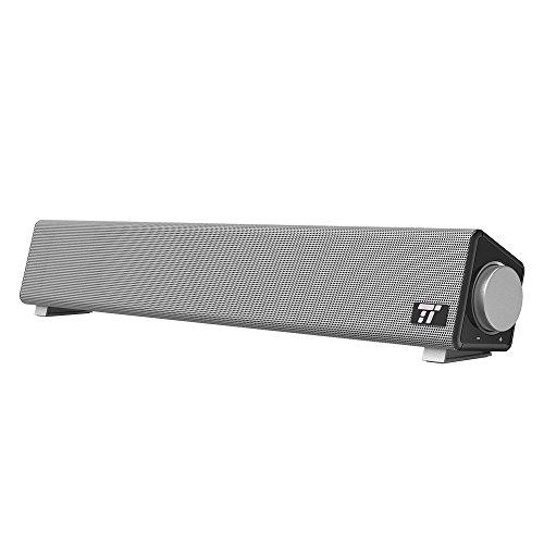 Sound Bar, TaoTronics Wired Computer Speakers Portable Soundbar, Stereo USB Powered Mini Sound Bar Speaker for PC Cellphone Tablets Desktop Laptop (Certified Refurbished)