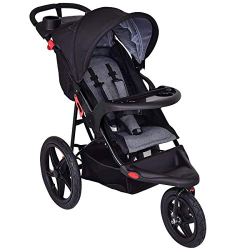 HONEY JOY Baby Jogger Stroller, All Terrain Lightweight Fitness Jogging Stroller w/Parental Cup Phone Holder, Free Tractive Webbing, Large Storage Basket (Black)