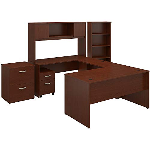 Bush Furniture Commerce 60W U Shaped Desk with Hutch, File Cabinets and Bookcase in Autumn Cherry