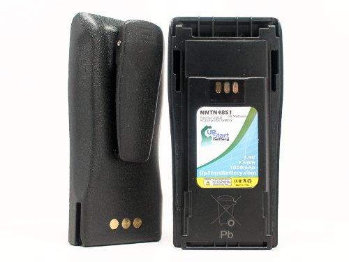 2x Pack - Motorola CP200 Battery with Clip - Replacement for Motorola NNTN4851 Two-Way Radio Battery (1000mAh, 7.5V, NI-CD) - Also Replaces PR400, CP200XLS, EP450, CP150, CP040, NNTN4497, CP380, CP360, CP340, NNTN4851A, NNTN4496AR, NNTN4970, MTX888