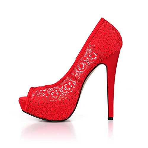 Wedding High Summer 4U Sandals Sole Heels Breathable Peep Faux Silk 14CM Lace Women's Net Shoes Rubber 3CM Best Heels Red Pumps Basic toe E6qxRq