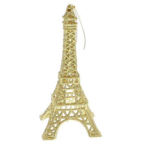 Ornament - Eiffel Tower - Gold Glittered Acrylic Ornament (Christmas Tree Eiffel Tower Ornament)