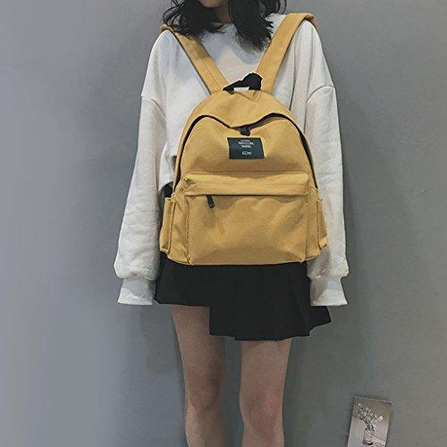 Toile Mesdames dos option à à couleurs bandoulière en Mignon Sac ZCM 3 Cartable Sac à dos Voyage Satchel Le Fille Sac Daypack jaune CxqPXw7g