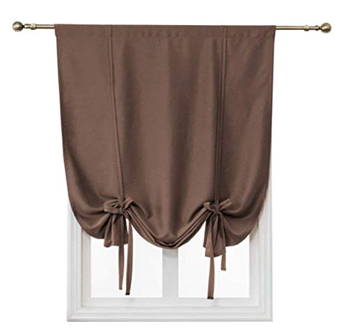 HomeyHo Tie Up Blackout Curtains for Small Windows Solid Thermal Insulated Blackout Small Window Curtains Roman Curtain for Small Window Blackout Tie Up Shade Curtains, 31 x 47 Inch, Coffee
