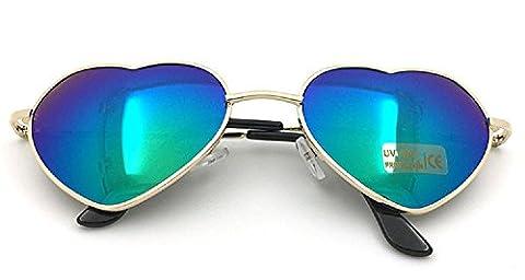 Nuni Women's 014 Metal Colorful Gradient Lens Heart Sunglasses (gold, green mirror) - Wire Frame Gradient Sunglasses